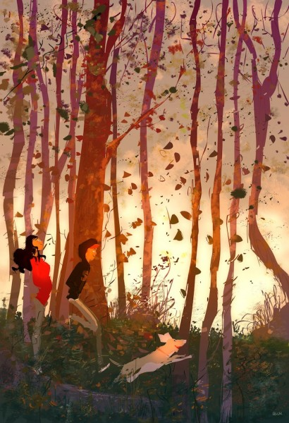 ilustracion otoño en el bosque