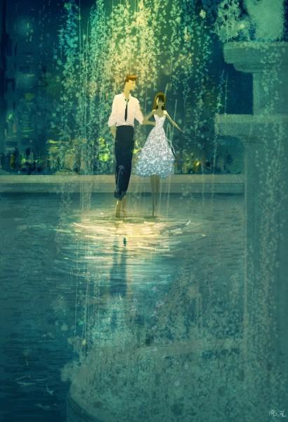 ilustracion pareja bajo lluvia