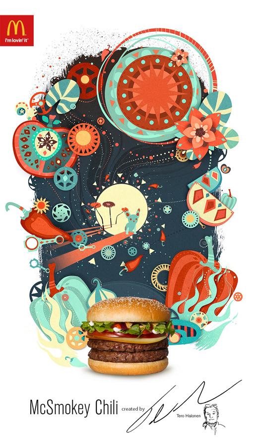 ilustraciones para publicidad de McDonalds