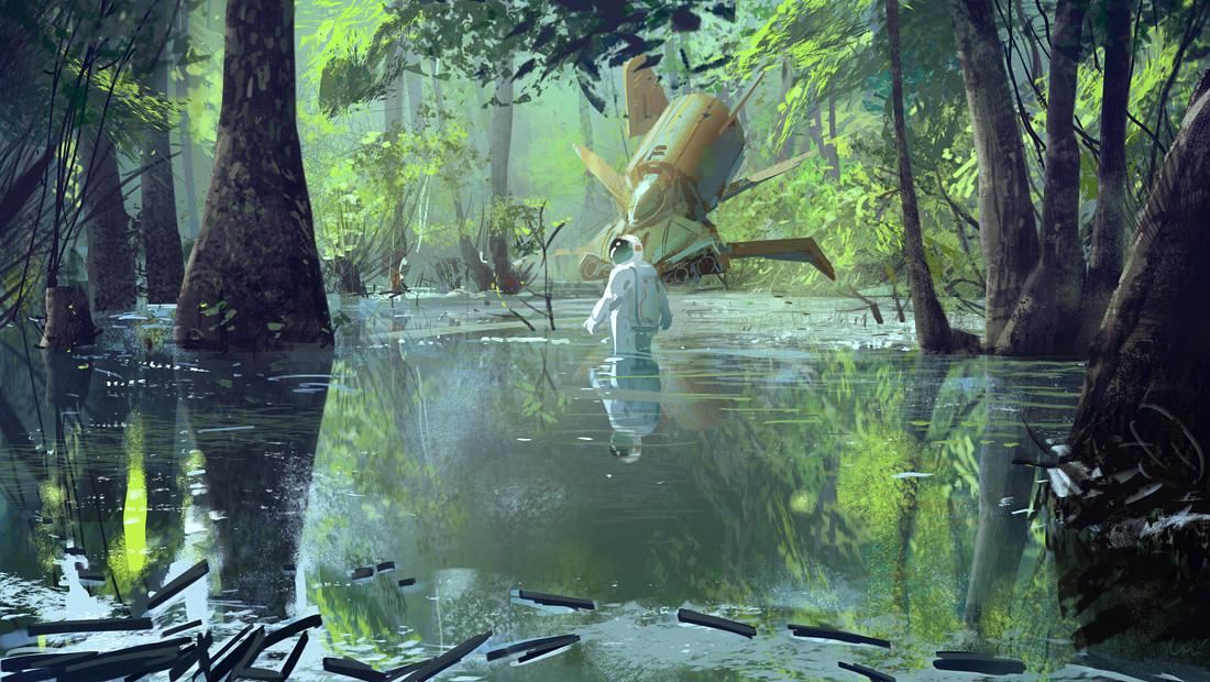 ilustraciones de ambientes, Ilustración de un astronauta en un pantano