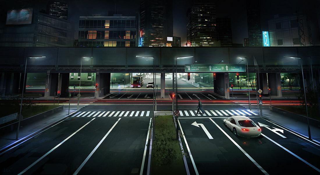 Ilustración de calles desiertas durante la noche