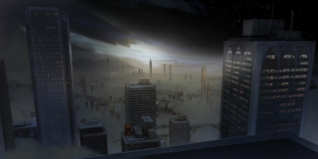 Ilustración de una ciudad cubierta por la neblina
