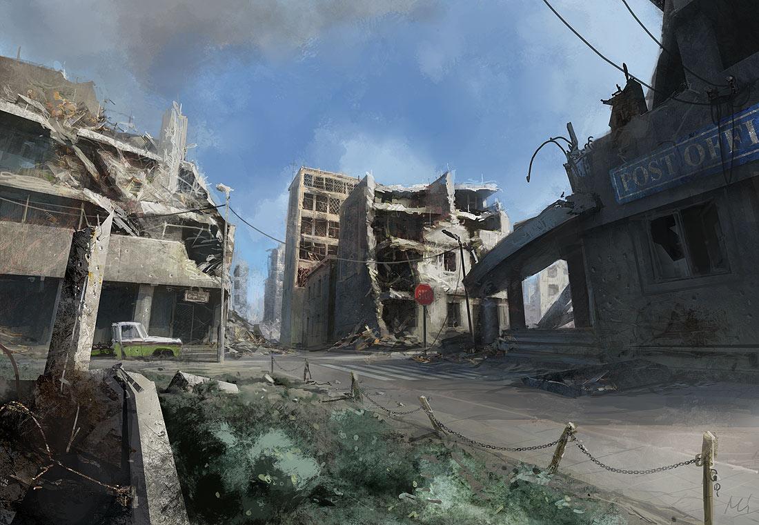 Ilustración de una ciudad en ruinas