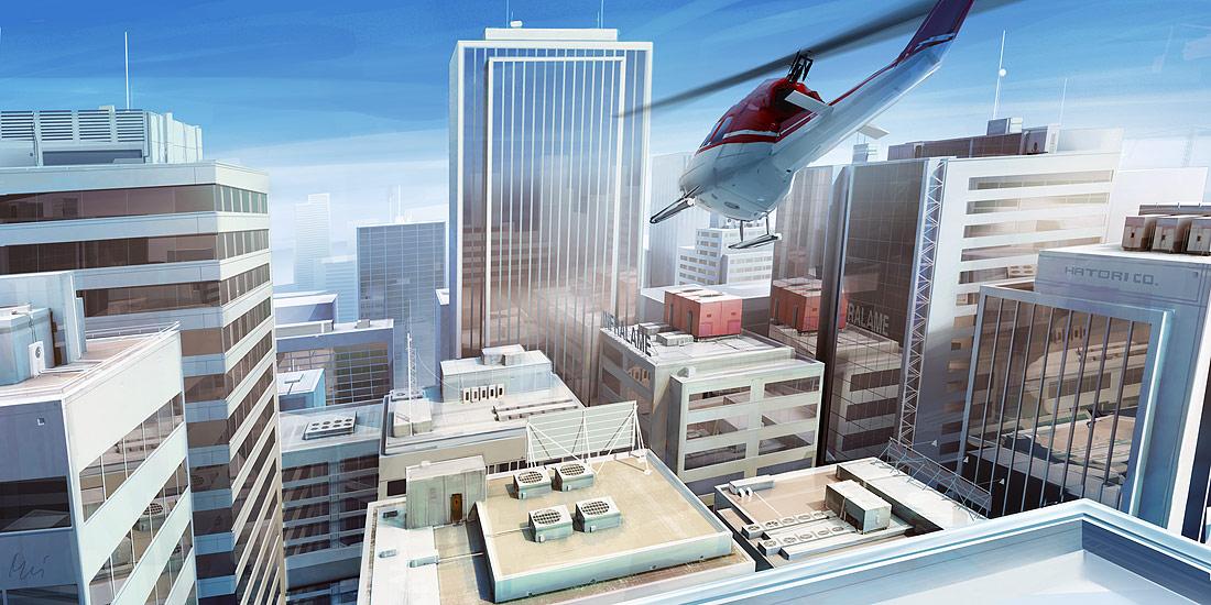 Ilustración de un helicoptero volando sobre los edificios de una gran ciudad