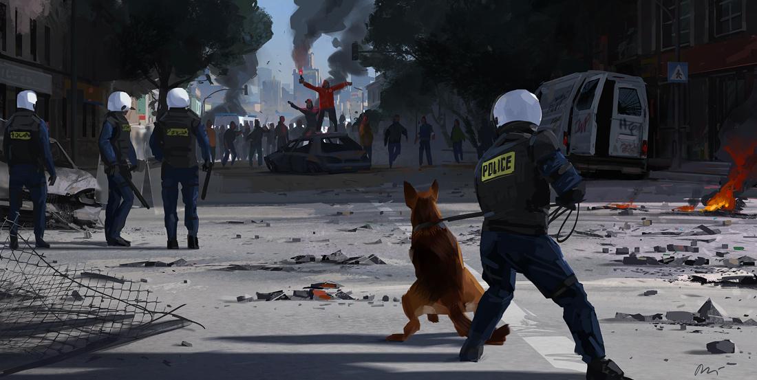 Ilustración de policias esperando a un grupo de rebeldes en manifestaciones