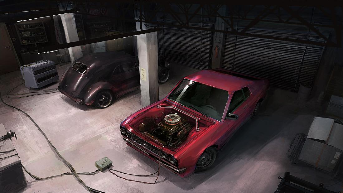 Ilustración del interior de un taller mecánico