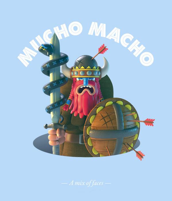 Mucho Macho: Ilustraciones 3D