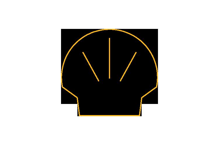 Logo minimalista de Shell la famosa marca de aceites para autos y patrocinador de la escudería Ferrari.