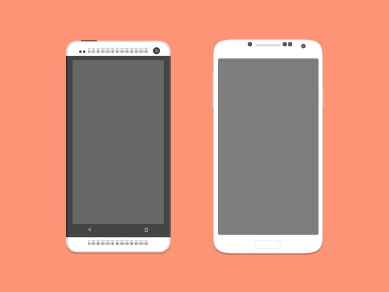 Mockups PSD HTC One y Samsung Galaxy S4 (Flat)
