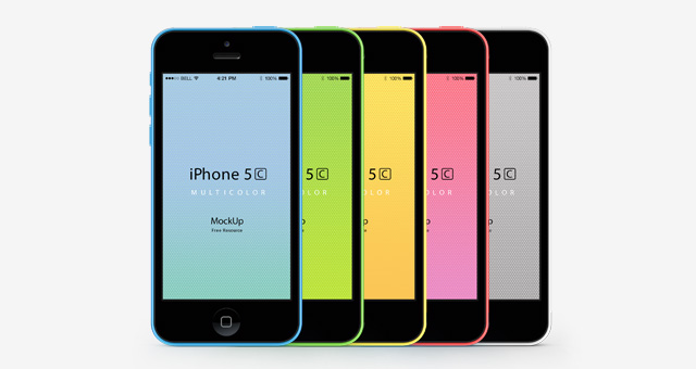 Mockups PSD iPhone 5C en 5 colores