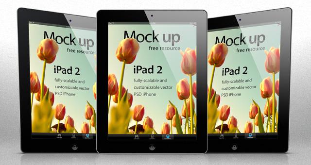Mockups PSD de móviles, Mockups PSD iPad 2 (Blanco y Negro en 3 vistas)