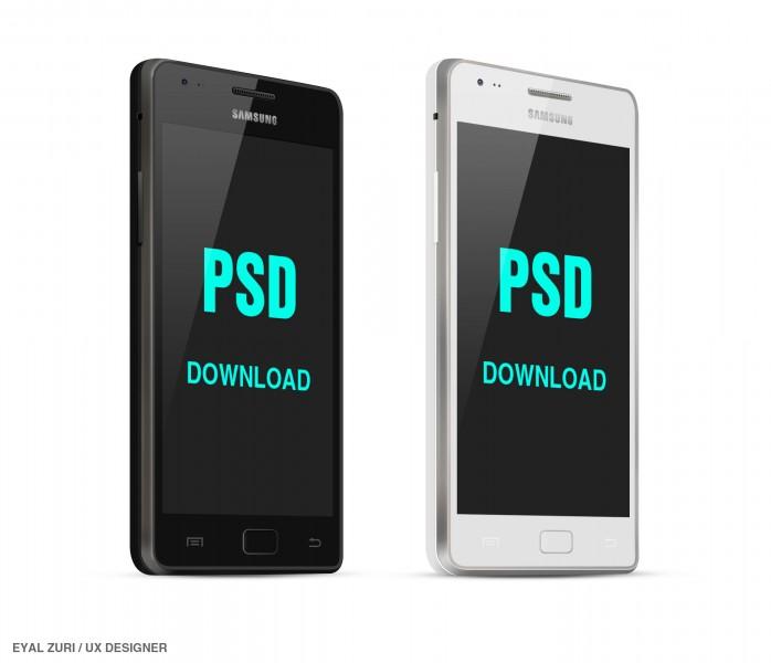 Mockups PSD Samsung Galaxy S2 en blanco y negro