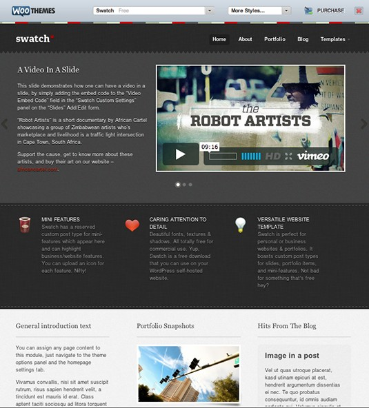 Swatch, plantilla wordpress gratis para CMS