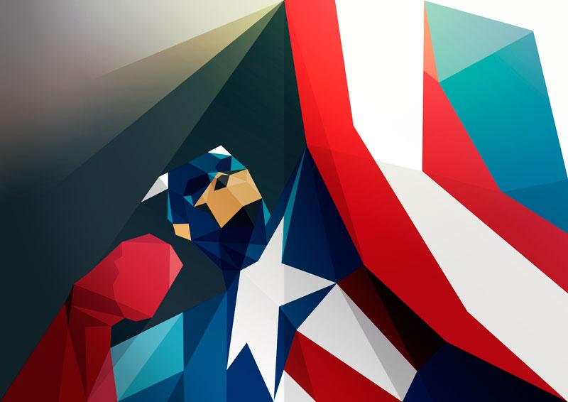 ilustraciones poligonales capitan america
