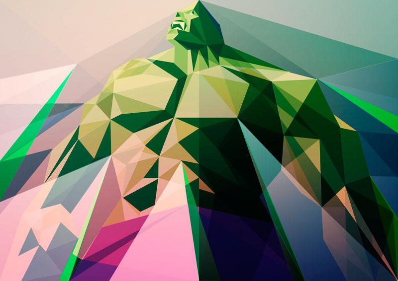 ilustración poligonal hulk