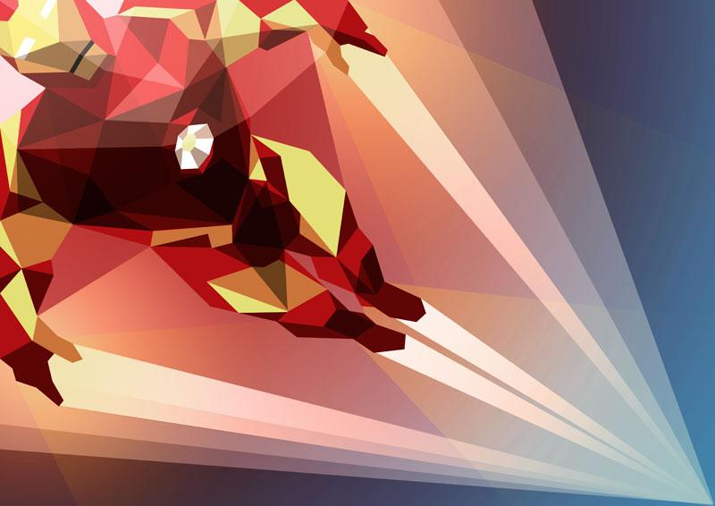 ilustración poligonal ironman