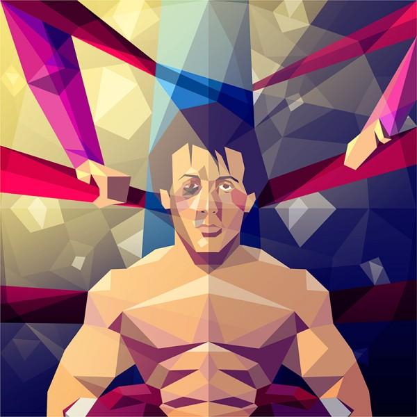 ilustración poligonal rocky balboa