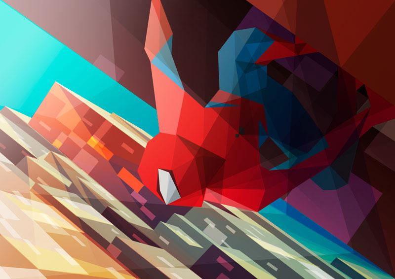 ilustración poligonal spiderman