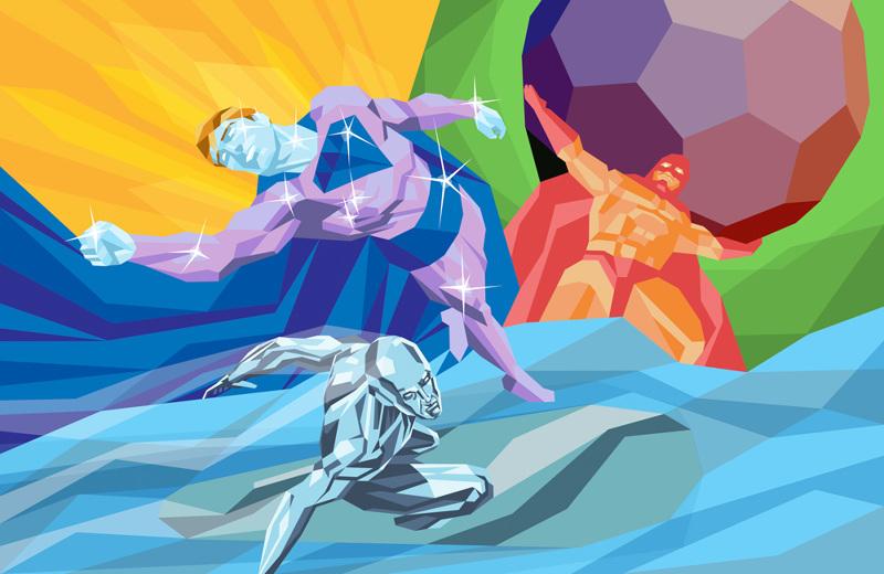 ilustración poligonal superman