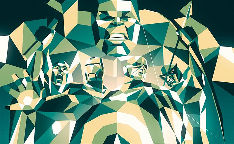 ilustración poligonal the avengers