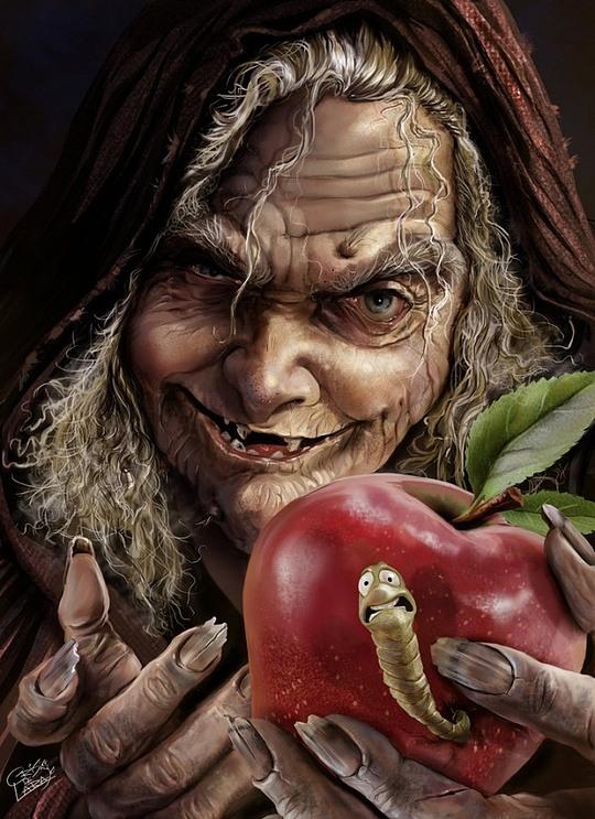 Bruja sexy con el gusano en la manzana