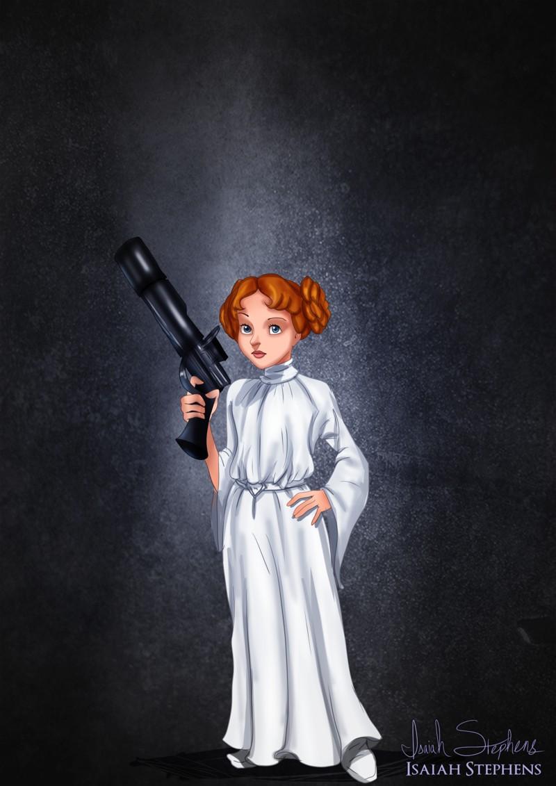 Wendy disfrazada de la princesa Lea de Star Wars