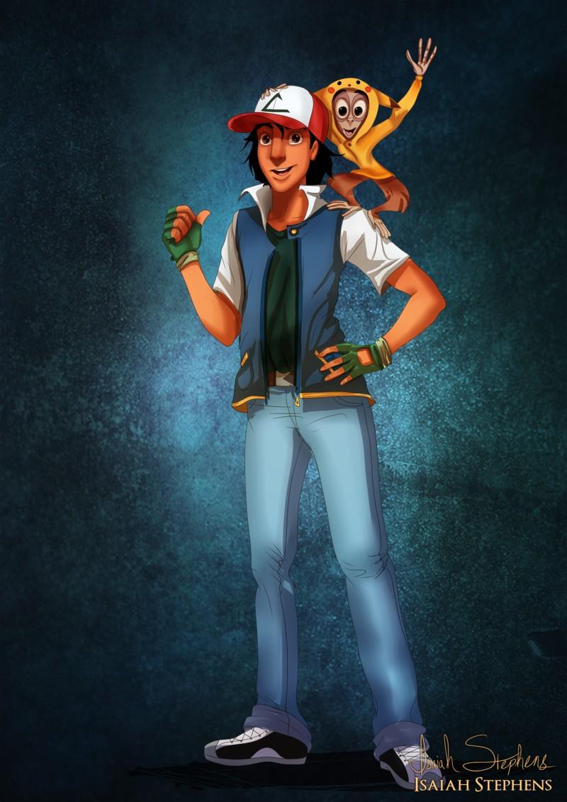 Alladin disfrazado de Ash y Abú de Pikachu