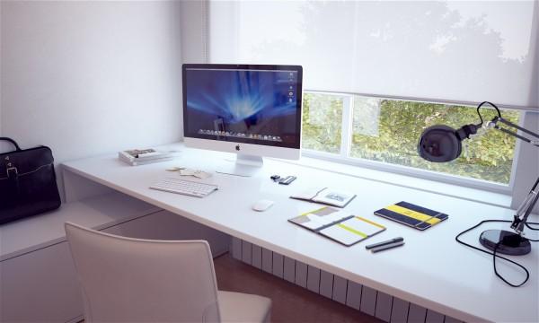 Espacio de trabajo ubicado en una sala