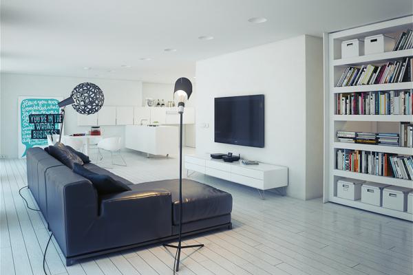 Sala de estilo minimalista