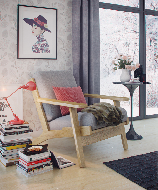 Hermosa silla de madera