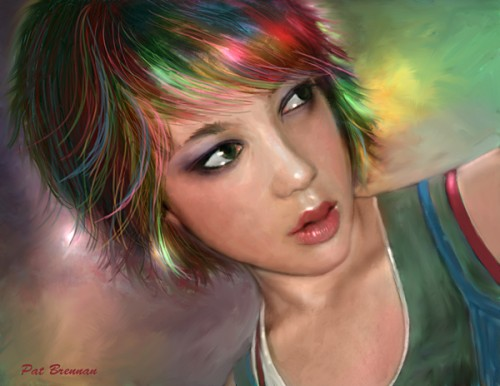 diseños de retratos digitales, All The Colours of por Patricia Brennan