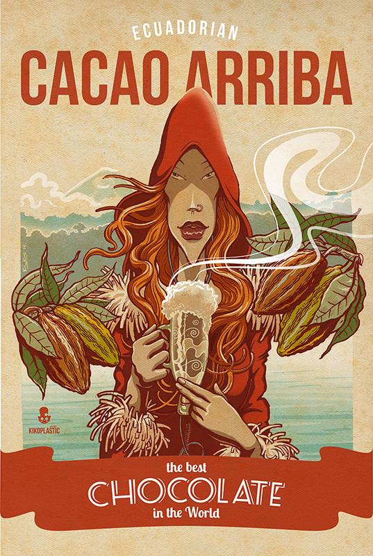ilustraciones por Kiko Rodriguez, cacao arriba