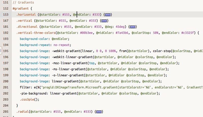 editor y compilador LESS, código LESS