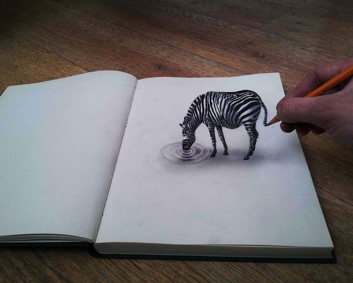Dibujos a lápiz 3D, Cebra realista en 3D