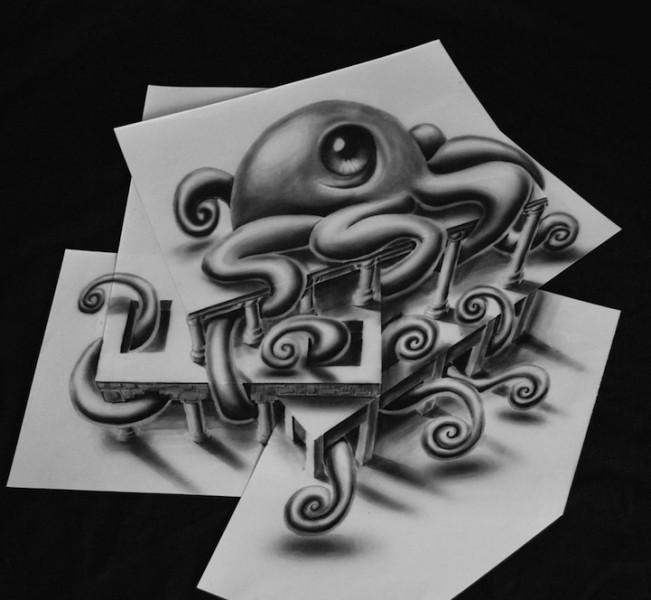 Impresionante dibujo de un pulpo en 3D en varias hojas