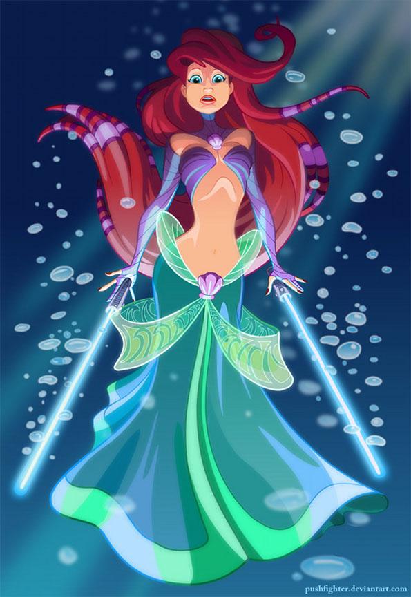 Ilustraciones de princesas de Disney y Star Wars