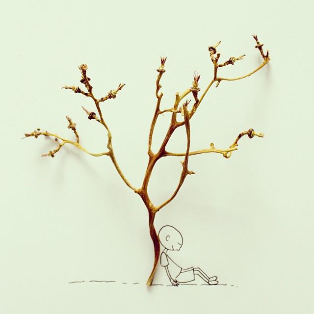 Fotografía conceptual, arbol y gajitos