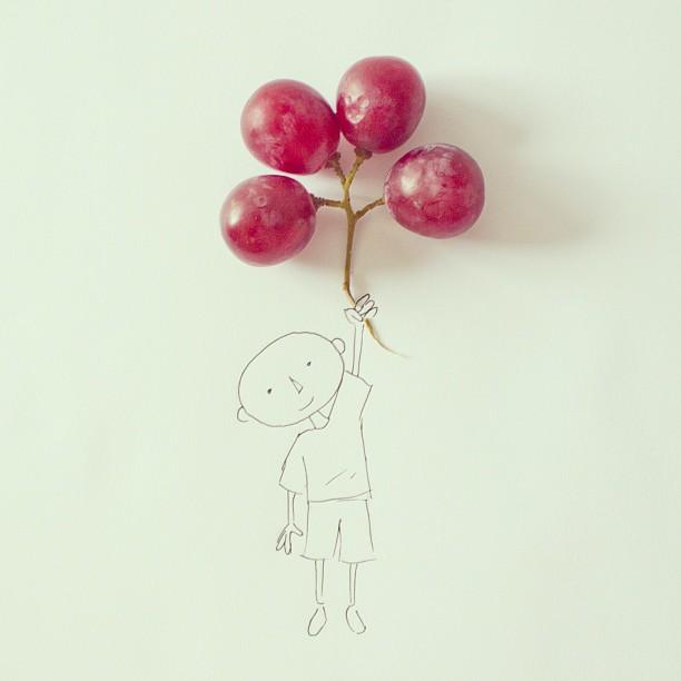 fotos conceptuales globos uvas