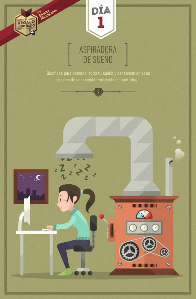 Proyecto de ilustración, día 1 aspiradora de sueño