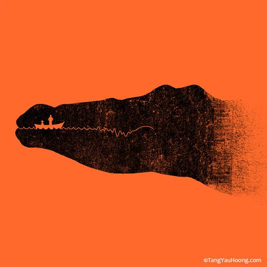 ilustraciones espacios negativos cocodrilo