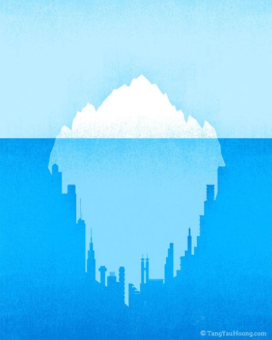 ilustraciones espacios negativos iceberg