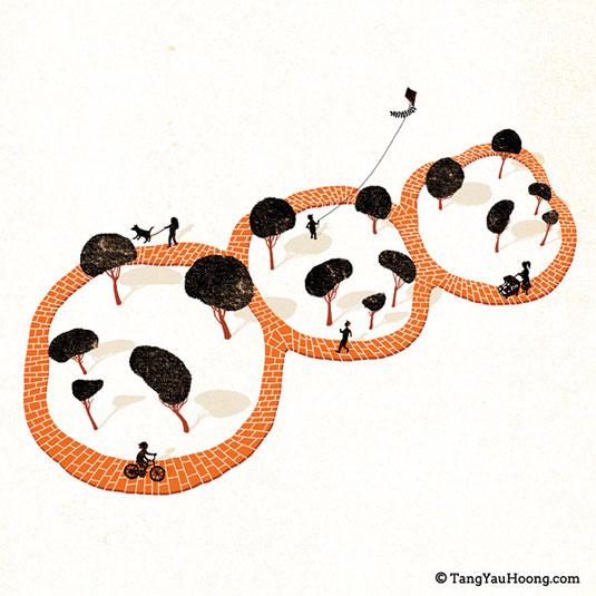 ilustraciones espacios negativos pandas