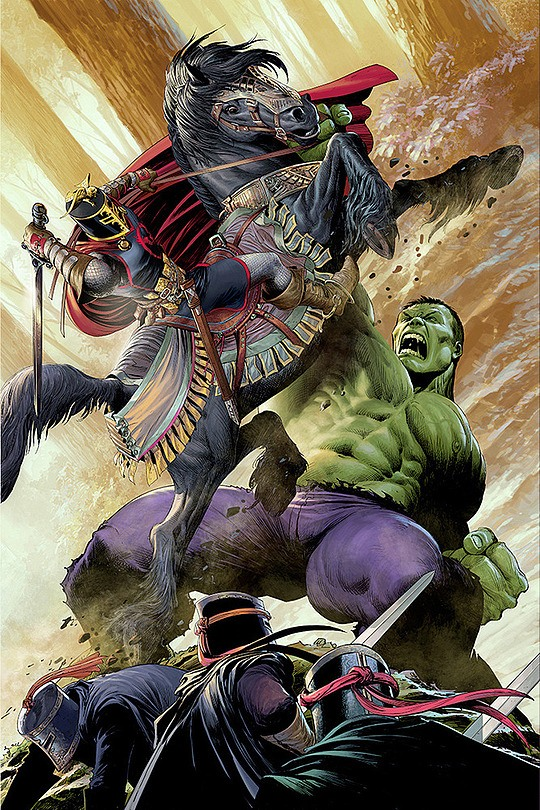 ilustraciones nisachar hulk vs caballeros