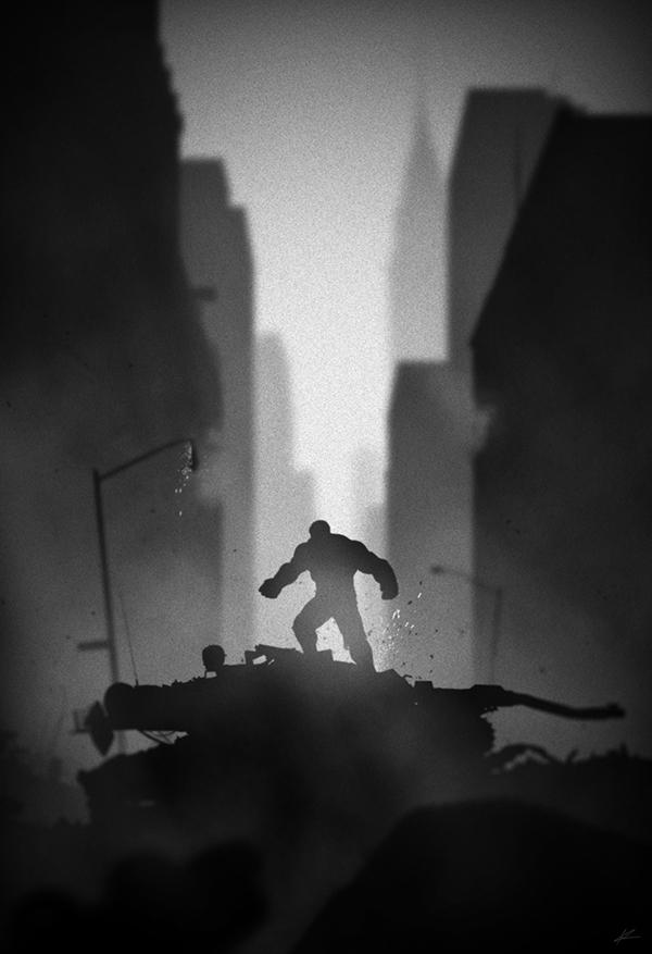 ilustraciones noir hulk