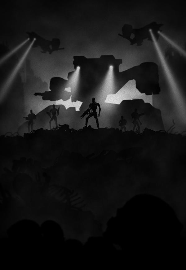Ilustraciones blanco y negro con siluetas noir terminator