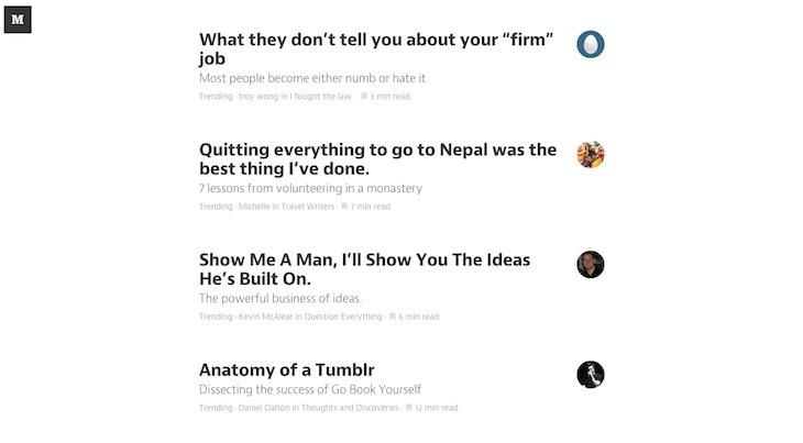 Lista de artículos destacados en toda la plataforma de Medium