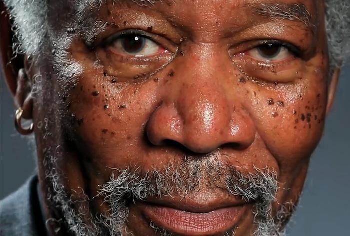 Dibujo hiperrealista de Morgan Freeman