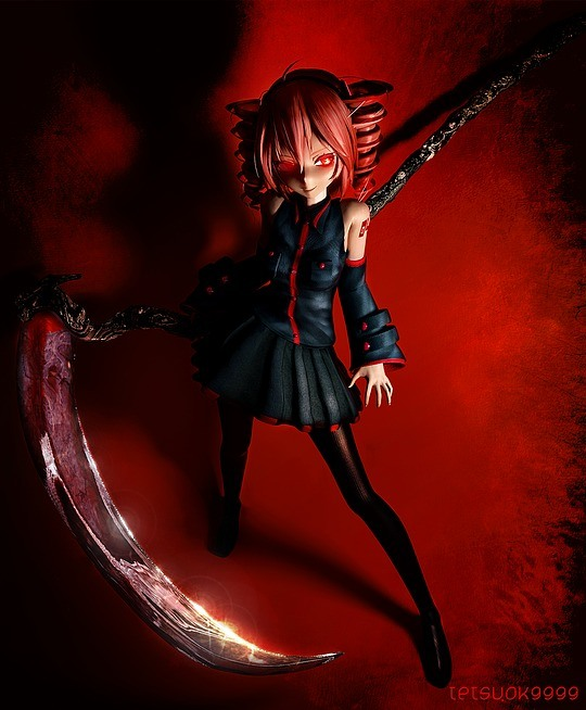personajes 3D chica dark con sable