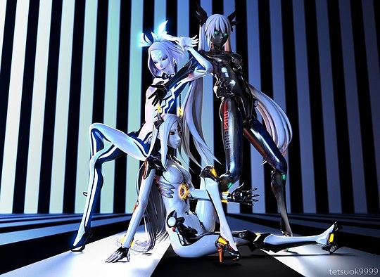 personajes 3D chicas cromadas