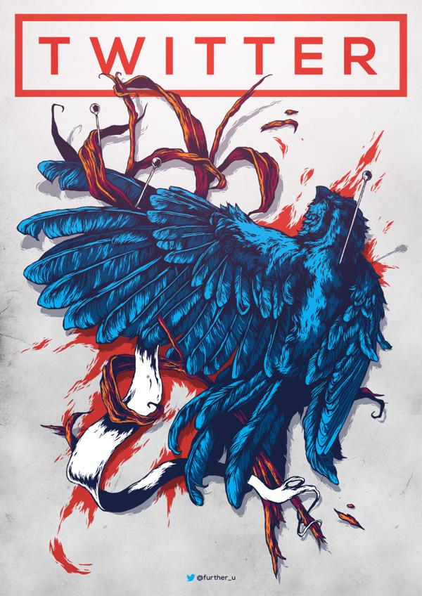 Diseños de posters por Ivan Belikov, twitter